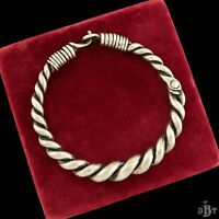 """Antique Vintage Deco Sterling Silver Chinese Ethnic Twisted Collar 0.6"""" Necklace"""