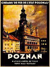 Poznań Polonais Rathaus Poland Europe Polish Vintage Travel Art Poster Print