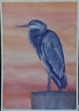 """Blue Heron Sunset"" Original Watercolor Painting~ RAMfish Artist Sea Bird Egret"