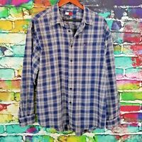 Tommy Hilfigure Mens Long Sleeve Casual Button Down Blue Plaid XL