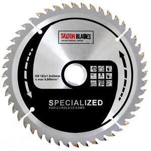 Saxton 165mm x 48t TCT Cordless Circular Saw Blade for Dewalt Makita Ryobi Bosch