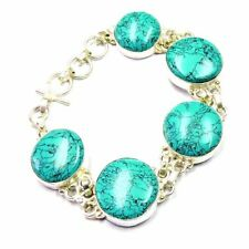 "180.00Cts Tibet Turquoise Gemstone Silver Overlay Handmade Bracelet 8.5"""