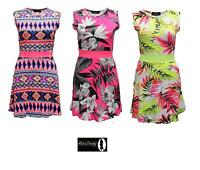 Neon Floral Skater Dress Casual Tropical Summer Beach Sleeveless Womens Ladies