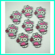 Wholesale 8 pcs Candy Jewelry Making Metal Figure Pendant Charms For Hello Kitty
