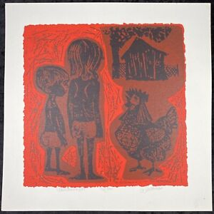 David Weidman Children & Pet Signed Serigraph Lithograph Mid Century Modern MCM