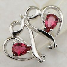 Crazy Heart Nice Ruby Red Gems Jewelry Gold Filled Huggie Woman Earrings H1589