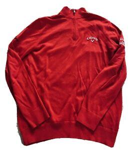 Used Callaway Golf Men's Merino Mix 1/4 Zip Sweater w/ Odyssey Tour Logo (Red)