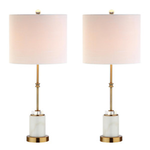 Table Lamp Harper Drum Shade Decor Brass Neck Marble Crystal 27 in. Set of 2