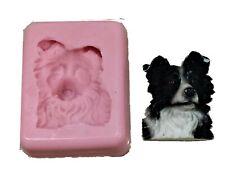 BORDER COLLIE FACE SILICONE MOULD FOR CAKE TOPPERS, CHOCOLATE, CLAY ETC