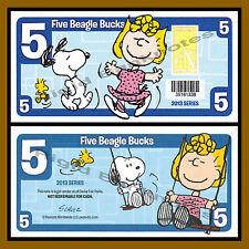 "Cedar Fair 5 Beagle Bucks, 2013 ""Peanuts, Snoopy Sally"" Like Disney Dollar"