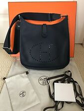 NIB Authentic Hermes Evelyn III GM Nuit Navy Blue Clemence Leather Shoulder Bag