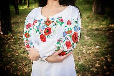 Ukrainian embroidered sorochka, blouse, vyshyvanka, embroidery, Size M