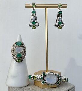 NICKY BUTLER MOONSTONE GREEN GEMS SILVER CUFF SMALL BRACELET RING 6 EARRINGS SET
