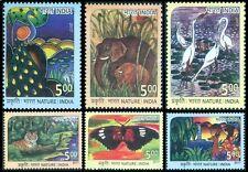 Tiger, Peacock,Butterflies,Dear,Elephant, Crane,Animals, Birds,India 2017 MNH 6V