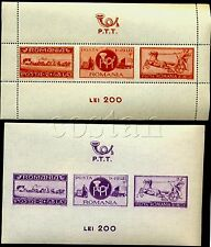 1944 Motorcycle,Motorrad,Post coach,PTT,Auto,Truck,Horse,Romania,Bl.22,CV$38,MNH