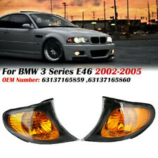 Pair Turn Signal Lamps Corner Lights For BMW 3 Series E46 4Door 02-05 Amber Lens