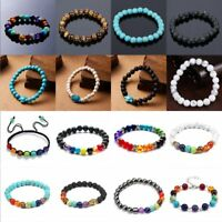 Men Women Natural Lava Rock Gemstone Beads Bracelet Buddha Charm Beaded Bracelet