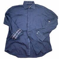 BUGATCHI UOMO Men's Large Button Front Dress Shirt Dark Blue Striped Flip Cuff
