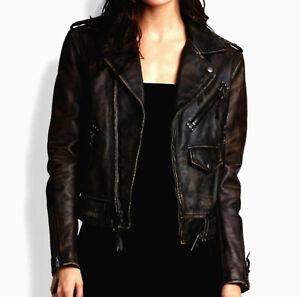 Women's Ladies Real Leather Designer Distressed Black Slim Biker Jacket
