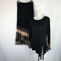 Spencer Alexis Set Size 12 Black Velvet Burnout Shimmer Long Maxi 2pc Slinky Top