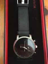 Authentic MVMT Watches Chrono 45 MM BLACK SILVER Leather Men's Watch *New In Box