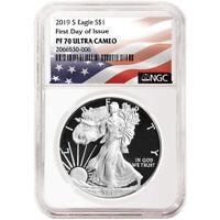 2019-S Proof $1 American Silver Eagle NGC PF70UC FDI Flag Label