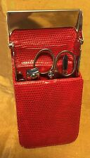BIJOUX TERNER Travel Stainless Manicure Set w Red Faux Snake Skin Case