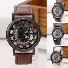 Men Skeleton Watch Leather Band Engraving Hollow Business Quartz Wristwatch Sale