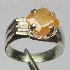 5.90 CT NATURAL 6.5 RATTI YELLOW SAPPHIRE ASTRO PUKHRAJ 92.5 SILVER SIZABLE RING