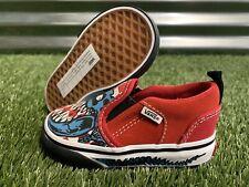 Vans Asher V 'Dino Bonez' Toddler Shoes Red White Blue SZ 5 ( VN000XE916S )