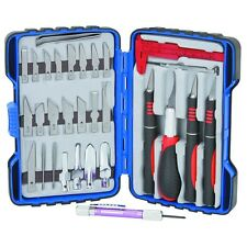33 Piece Deluxe Hobby Knife Set With 26 Blades Tweezer Screwdriver Case & More!
