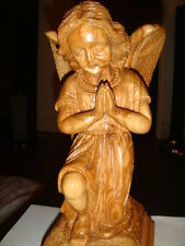 OLIVE WOOD PRAYING ANGEL STATUE, HAND CRAVED, SOUVENIR/GIFT FROM THE HOLY LAND