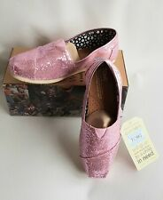 NEW - TOMS Pink Glitter Shoes Labelled 4.5 but small more 3-3.5 New and Boxed