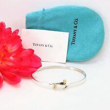 Tiffany & Co. Sterling Silver & 18K Gold Hook & Eye Bangle Bracelet Rare Classic
