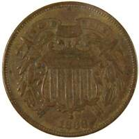 1868 2c Two Cent Piece US Coin F Fine