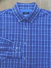 Izod Men's Shirt 15 32/33 Long Sleeve Button-Down 100% Cotton Plaid Blue.