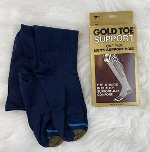 Vintage Gold Toe Men's Compression Support Hose Socks NAVY Sz L (10.5-12) NIB