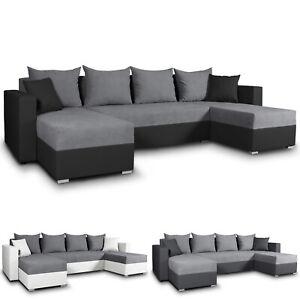 Wohnlandschaft mit Schlaffunktion Beno - U-Form Couch Ecksofa, Couchgarnitur