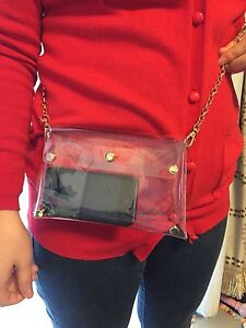 Clear Mini Envelope Clutch PVC Vinyl Plastic Handbag Transparent Shoulder Bag