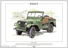 WILLYS M38 A1 - Fine Art Print - A3 size - US American Military Korean War Jeep