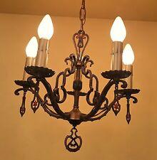 Vintage Lighting 1930 set One chandelier Two sconces