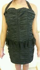 NWT BLACK RUCHED DRESS by TITI GIRL BOUTIQUE (Size L)