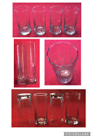 VINTAGE Drinking Glass Tumblers 16 oz. Clear 10-Facets Heavy Footed Base 4-PC