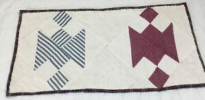 Vintage Patchwork Quilt Table Topper Or Doll Crib Quilt, Blue, Burgundy, White