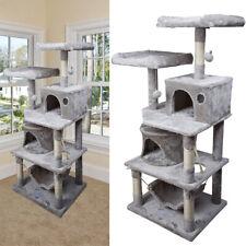 Kratzbaum für Katzen Katzenkratzbaum 145 cm Höhe Kletterbaum mit Sisal Grau NEU