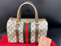 Auth Gucci Old Gucci Mini Boston Bag Sherry line Browns PVC 59915871-2