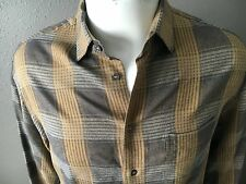 Men's Armani Casual Shirt. Beige/Gold Plaid. Made in Italy. Pristine. US Medium.
