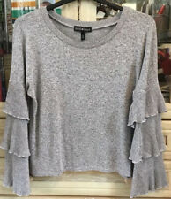 Grey Rayon Jumper Top Layered Bell Sleeves Size L Excellent Condition Autumnal