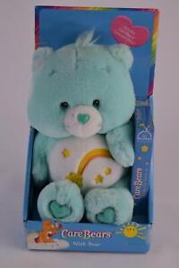 Care Bears Wish Bear 2002 Mint Green Plush With Original Box & VHS Video