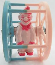 1950s Pink Blue JB Hard Plastic Rolling Wheel Happy Clown Chime Bell Baby Toy